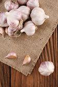 Garlic Close-up On Burlap