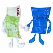 Money Home Construction Blueprint Handshake