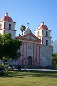 pic of rebuilt  - Mission Santa Barbara was constructed during 1820 in southern California and rebuilt following an earthquake in 1925 - JPG