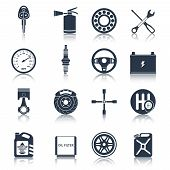 Car parts icons black