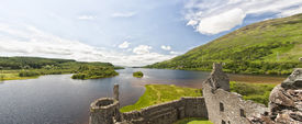 picture of bute  - A panoramic image of Loch Awe as viewed from Kilchurn Castle a ruined 15th century structure on the banks of Loch Awe in Argyll and Bute Scotland - JPG