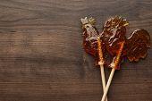 sugar lollipop rooster shaped