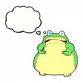 cartoon fat toad with thought bubble
