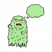 stock photo of gross  - gross cartoon ghost with thought bubble - JPG
