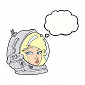 cartoon female astronaut with thought bubble