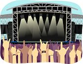 Cropped Illustration of Concert Goers Filling a Large Open Air Stadium