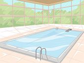 Illustration of an Indoor Swimming Pool Surrounded by Glass Windows