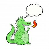 image of fire-breathing  - cartoon fire breathing dragon with thought bubble - JPG