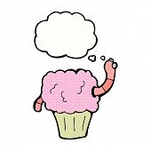 cartoon worm in cupcake with thought bubble
