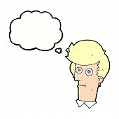 cartoon staring face with thought bubble