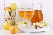 image of cider apples  - Still life with tasty apple cider and fresh apples - JPG