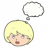 cartoon female face looking upwards with thought bubble