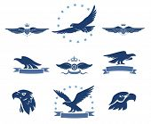 stock photo of eagles  - Eagles Silhouettes and Winged Insignias Set - JPG