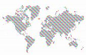 World map vector with colorful dots pattern