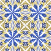 Symmetrical Pattern In Stained-glass Window Style. Blue And Beige Palette. Computer Generated Graphi poster