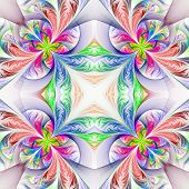 Symmetric Multicolored Fractal Tracery. Collection - Frosty Pattern. On White.