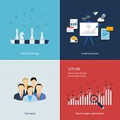 Icons for business strategy, teamwork, workflow, creative process and search engine optimization in