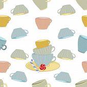 set of mugs on seamless background