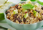Healthy Muesli And Green Apple For Breakfast