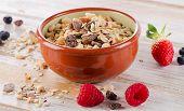 Muesli For Breakfast With  Berries