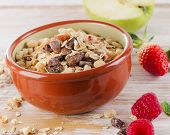 Muesli For Breakfast With  Berries And Green Apple .