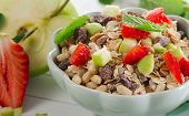 Healthy Muesli And Fruits For Breakfast