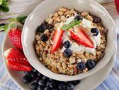 Breakfast -  Berries, Yogurt And  Muesli.