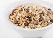 Muesli For Breakfast In A White Bowl