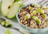 Muesli And Ripe Apple For Healthy Breakfast.