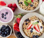 Muesli,  Ripe Berries And Yogurt For Healthy  Breakfast