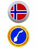 pic of cartographer  - button as a symbol NORWAY flag and map on a white background - JPG