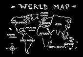 Chalkboard world map
