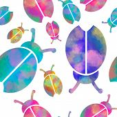 Vector Seamless Pattern With Bugs