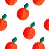 Fruit orange seamless watercolor vector pattern.