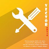 Screwdriver Wrench Icon Symbol Flat Modern Web Design With Long Shadow And Space For Your Text. Vect