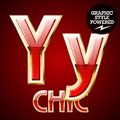 Red alphabet with golden border. Letter Y