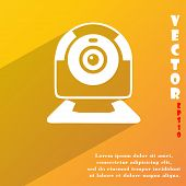 Webcam Icon Symbol Flat Modern Web Design With Long Shadow And Space For Your Text. Vector