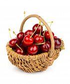 Basket Full Of Fresh Red Cherry