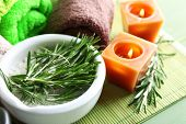pic of massage oil  - Branches of rosemary and sea salt in bowl - JPG