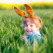 Cute Little Kid Boy With Easter Bunny Ears  In Green Grass