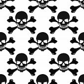 Cartoon Black And White Skulls Seamless Pattern
