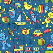 Cute Hand-drawn Vector Seamless Pattern With Toys Blue