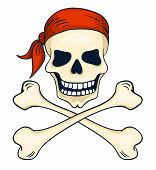 Cartoon Hand-drawn Pirate Skull Isolated On White