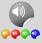 Speaker Volume Sign Icon. Sound Symbol. Set Colour Buttons. Vector