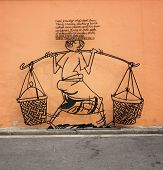 Malaysia, Penang, Georgetown - Circa Jul 2014: An Artistic Sign, Made Of Formed Metal, Explains An I