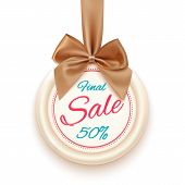 Final sale badge with golden ribbon and a bow, isolated on white background