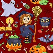 Cute Cartoon Halloween Seamless Pattern Red