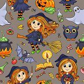Cute Cartoon Halloween Hand-drawn Seamless Pattern