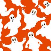 Seamless Orange Pattern With Cute Ghosts