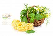 Italian Pasta Fettuccine Nest With Wicker Basket Green Herbs,
